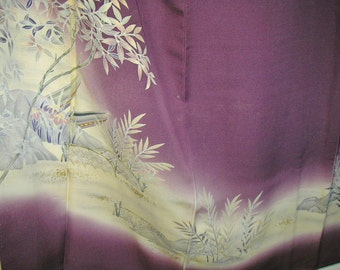 KIMONO Handpainted Vintage Japanese Silk Kimono, Handpainted Boat Heavenly Bamboo Rock Rich Purple Japanese Silk Kimono, Deep Purple Kimono