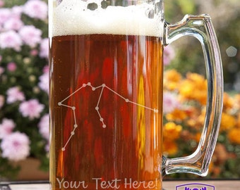 Aquarius Constellation Customizable Etched Glass Beer Stein Mug Glassware Gift