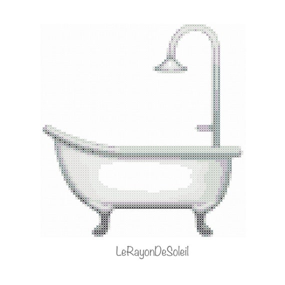Amazing Emoji Bathtub Cross Stitch Pattern Bathroom   PDF Instant Download IPhone.  From LeRayonDeSoleil On Etsy Studio