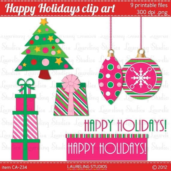 Items similar to modern christmas clip art in pink and ...