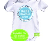 Personalized Baby Brother Iron On - Sibling Shirt Iron On - Sibling Iron On - New Baby Iron On - Grey and Blue Chevron Iron On