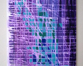 "Medium Cool Colored Abstract Geology 16"" x 20"" painting, purple, aqua, dark blue, green"
