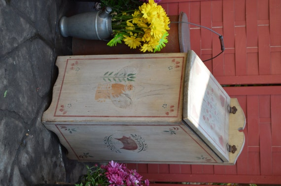 Large Wood Storage Box Primitive Rustic Character Potato Onion Bin Well Loved Stenciled Handmade Vintage Urban Farmhouse Country Chic Decor