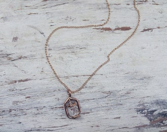 Floating Herkimer Pendant on 18K Gold Filled or Sterling Silver Chain
