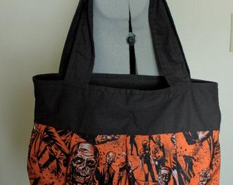 Large Zombie Print Shoulder Bag-The Walking Dead Inspired-Orange and Black