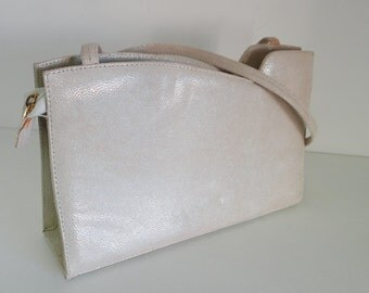 Vintage Evening Bag 1980s Purse Cream Ivory Pearlized Leather by Timothy Hyman