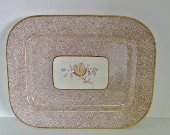 Vintage Serving Platter by Pountney & Co. Ltd, Bristol, Rare Large Dish Brown Flower Pattern Central Flower Design 1950s