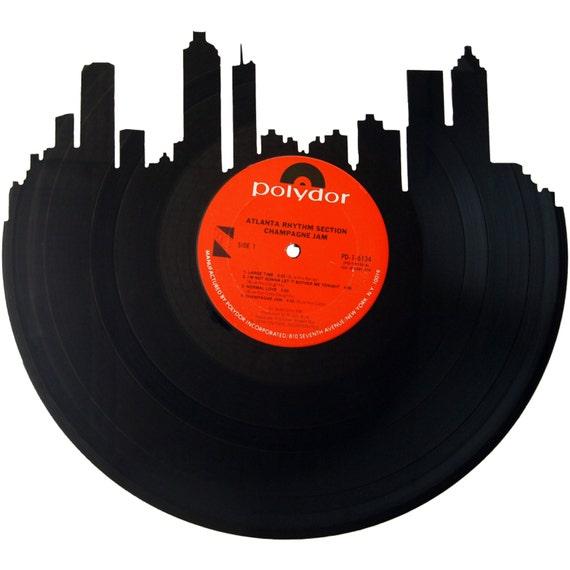 atlanta skyline vinyl record wall art by recordsredone on etsy. Black Bedroom Furniture Sets. Home Design Ideas