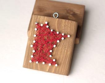 Minnesota String and Nail Art Rustic Wood Ornament