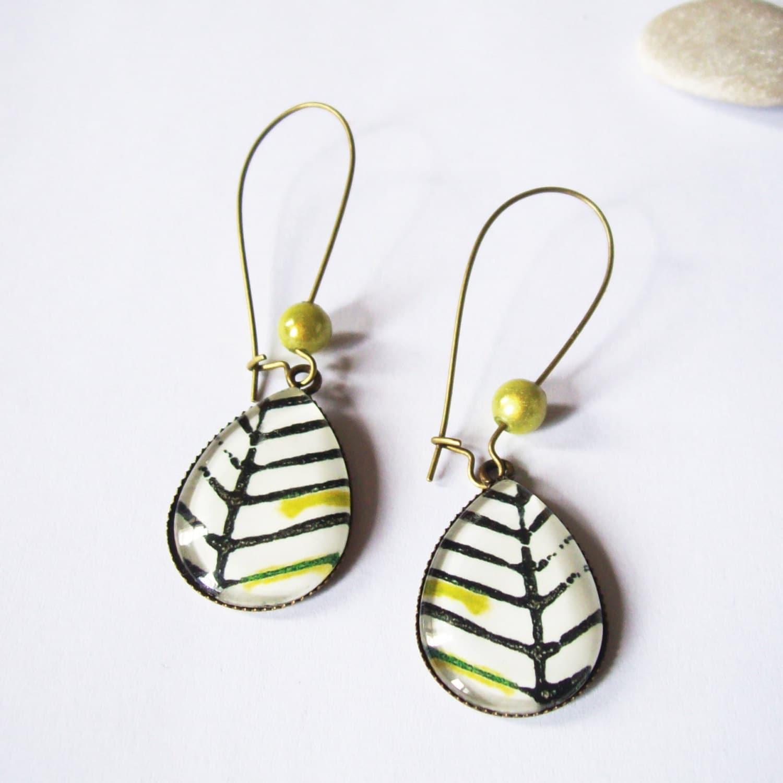 Long Teardrop Leaves Earrings 3 Types Of Hooks Glass Tile