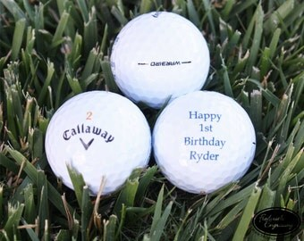SHIPS FAST, 3 Personalized Golf Balls, Custom Golf Balls with Any Text, Golf Theme Birthday Favor, Birth Announcement, Stocking Stuffer