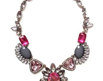 Pink statement necklace, pink crystal rhinestone bib necklace