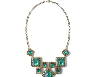 Green statement necklace, bib necklace, prom necklace, chunky necklace