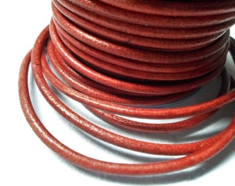 SALE: 3ft Premium 3mm Vegetable Dyed Distressed Red Leather Cord,