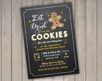 christmas cookie invitation / holiday cookie invitation / cookie exchange invitation / cookie swap invitation / cookie decorating invitation