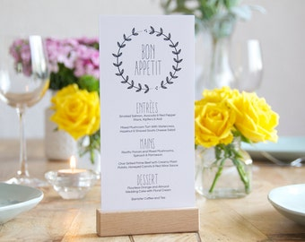 Wedding Menu - Bon Appetit - Printable - DIY Custom Wedding Decoration