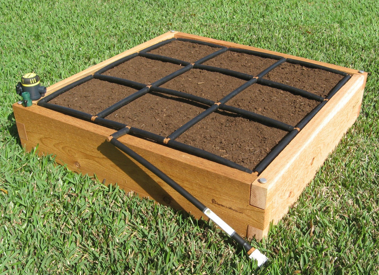 3x3 cedar raised garden kit for Raised bed garden kits