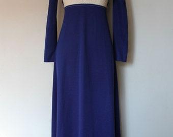 1960s Maxi Dress | 60s Navy Blue Empire Waist Dress | Long Sleeve Lace Dress | XS - S