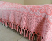 Double cotton bedspread, cover, throw. Pink & white, floral, 50's. Cotton, French vintage.