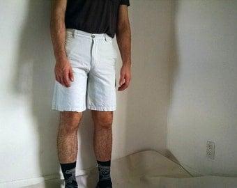 Light Green Striped Men's Izod Shorts - 30
