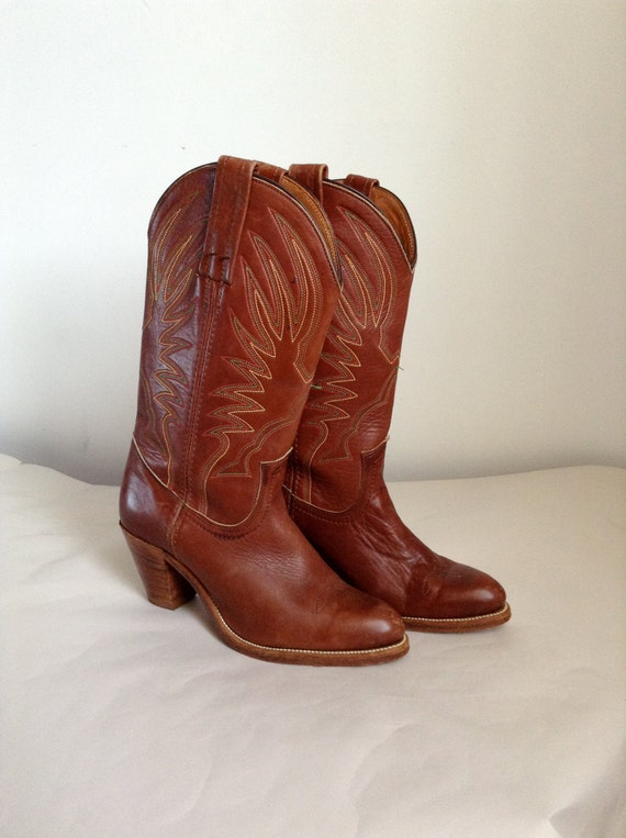 6b s frye high heel brown cowboy boots by uglycousin