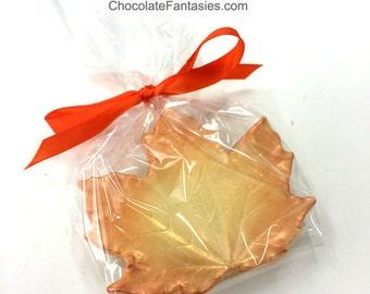 Large Chocolate Maple Leaf Favors, Wedding Favor Autumn Leaves Chocolates, Plain, Bronze & Gold