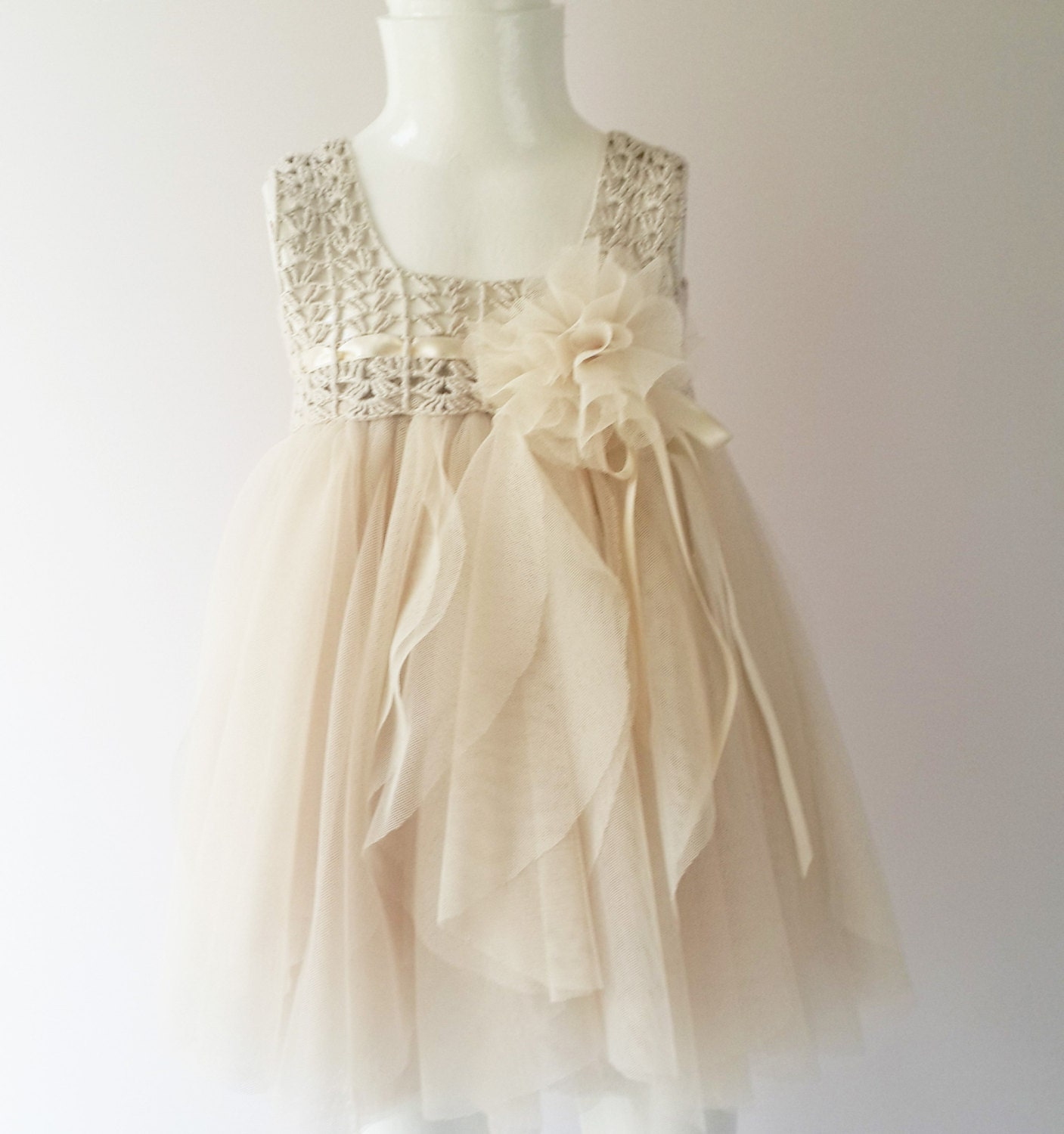 Cream Baby Tulle Dress with Empire Waist and Stretch Crochet