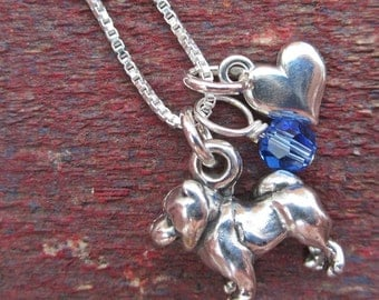 Chow Necklace- Mini Heart Sterling Silver Custom Necklace (Your Choice of Birthstone and Initial)