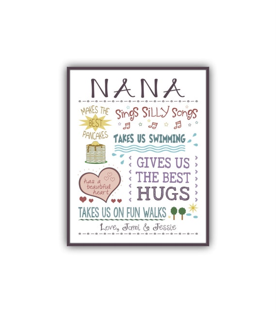 Nana birthday gift personalized gifts for grandma by for Birthday gifts for grandma from granddaughter