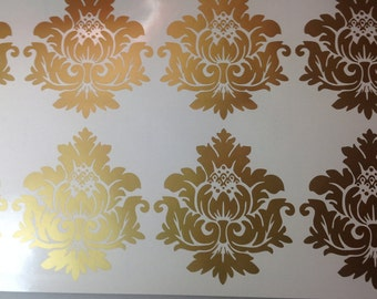 Gold Vinyl Wall Decals Scroll Damask Wall Pattern 10 graphics Wall Decal, Damask Print, Wallpaper,long life Stickers safe apartment  p5