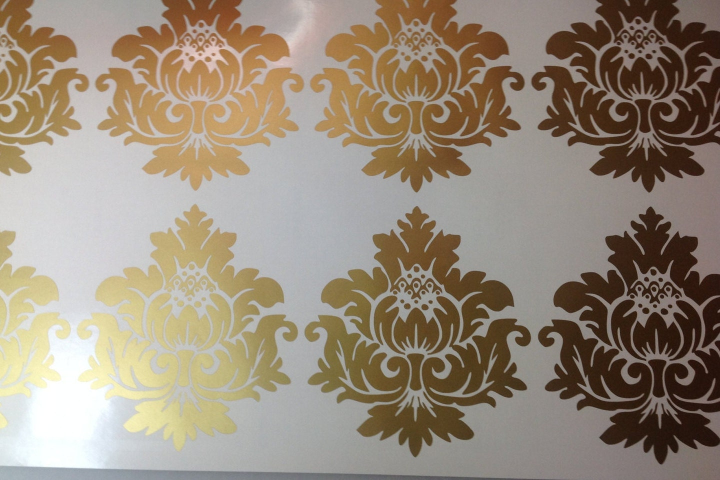 Gold Vinyl Wall Decals Scroll Damask Wall Pattern Graphics - Vinyl decals for walls etsy
