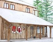 Custom House Santa Suit Christmas Card Snow Scene Mountain Cabin Mountain Christmas Card