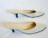 90s JIL SANDER Shoes / Vintage Suede Creme Ivory Kitten Heels Mules Pumps