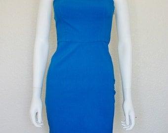 90's  BLUE Strapless Dress