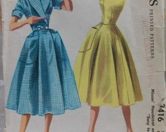 Complete Vintage 1950s McCall's 3416 Misses' HOUSECOAT or DRESS sz 16 sewing pattern