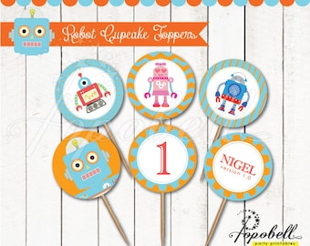 Robot Cupcake Toppers for robot birthday party. INSTANT DOWNLOAD Robot printable 2 inches circles design for Robot Party. In 6 designs!