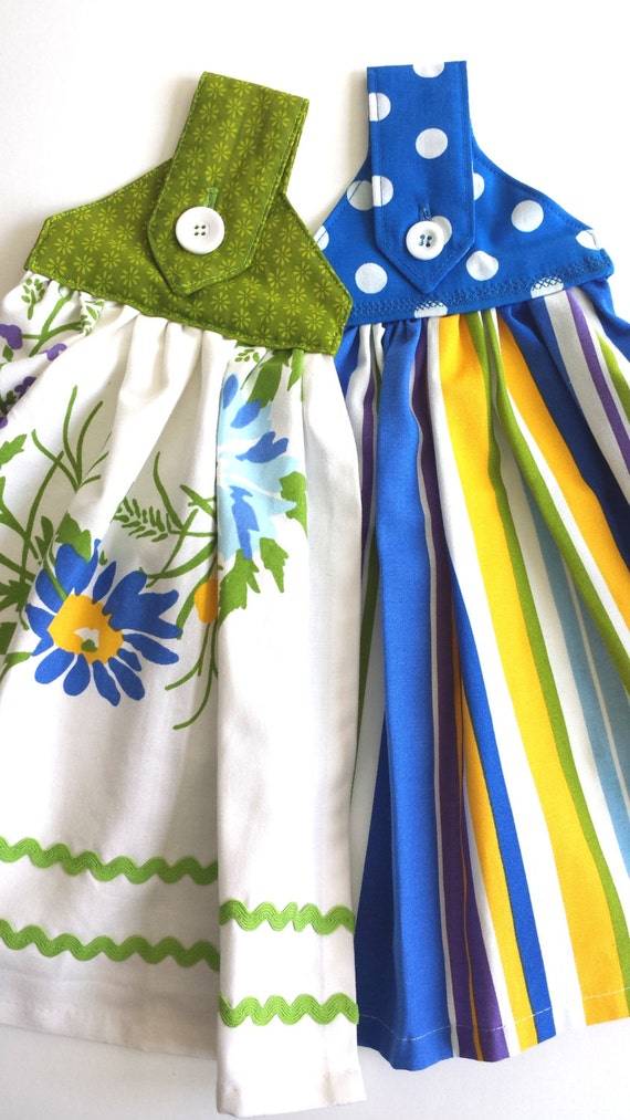 Hanging Towels With Loop Amp Button Bright Blue Stripes