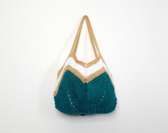 Crochet shopping bag with geometric design. Zig zag tote in classical stripes. Useful ecological gift idea for fiancée, mother in law, love
