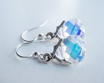 Aurora Borealis earrings, Swarovski crystal teardrops, small drop, shiny earrings, AB crystal ear ring, top selling items