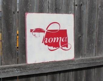 Oklahoma Wood Sign- Okie- Homa- Oklahoma- Rustic Decor- State Sign- Oklahoma Plaque- Oklahoma State- Home Decor- Wood Sign- Oklahoma Art