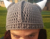 Handmade Crochet Viking Beanie with Removable Braided Beard