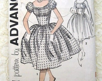 Vintage 60s Day Dress.  Full Skirt, Pouf Sleeve Advance Sewing Pattern 9423. Size 14