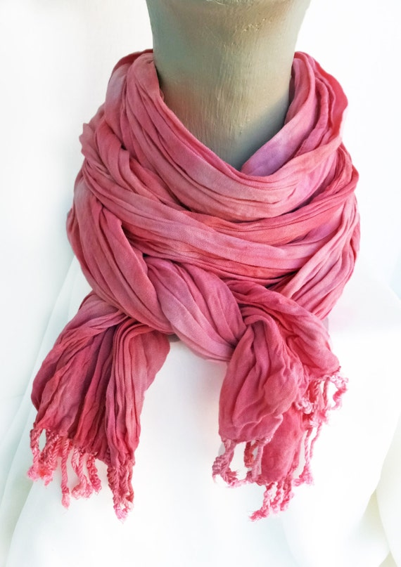 """Pink crinkle scarf - rayon scarf - crinkle scarf - spring scarf - fringe scarf - Stawberry Ice, Pantone - pink - hand dyed - 20"""" x 70"""""""