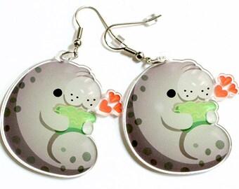 Cute Manatee Earrings, sea cow, mermaid, animal lover, sea creature, endangered species, unique jewelry