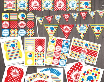 Circus Party Supplies - PRINTABLE Circus Birthday Party Decorations - INSTANT DOWNLOAD