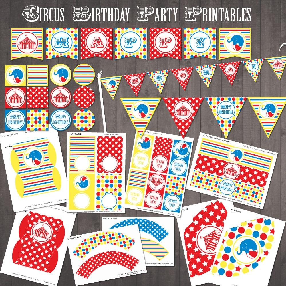 Circus Party Supplies PRINTABLE Circus Birthday Party