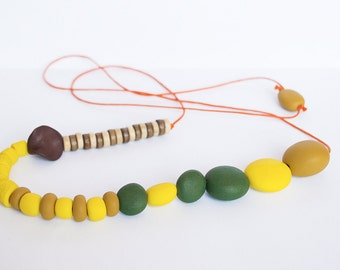 Bohemian necklace Indie necklace Beadwork necklace Yellow Ochre Brown Olive green necklace Metal free  Spring summer Polymer clay necklace