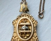 Antique Victorian Etruscan Revival Bell Shape Mourning Gold Locket Necklace, Seed Pearl Ornate Metal Work,  Circa 1880s