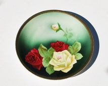 Antique Hand Painted Rose Porcelain Plate, Z.S.&Co. Bavara Royal Munich, 1900-1910 Signed Rochette