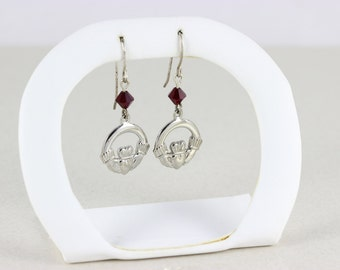 Sterling Silver Claddagh with Red Rine Stone Dangle Drop Earrings